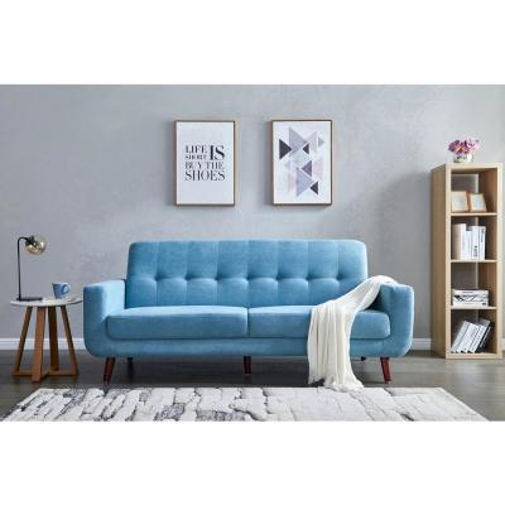 Blue Mid-Century Modern Fabric Sofa