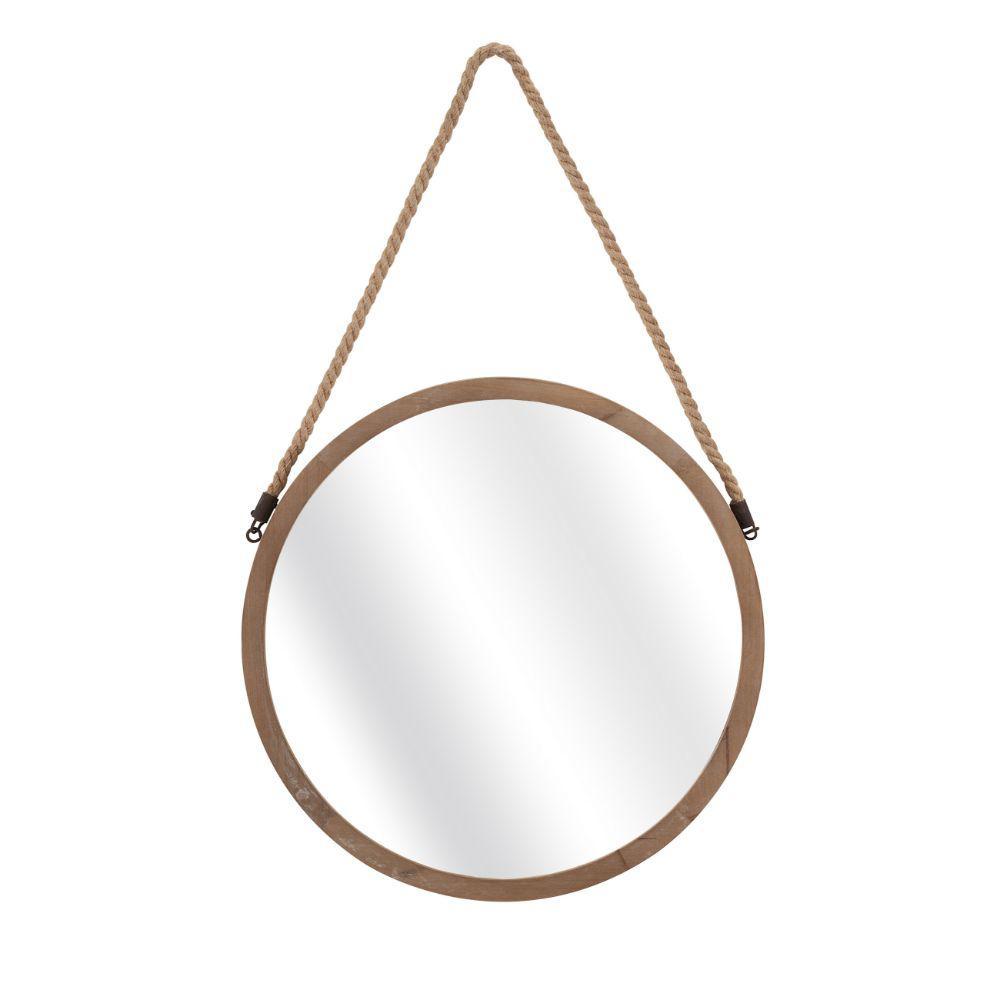 Medium Round Brown Modern Mirror (31 in. H x 19 in. W)