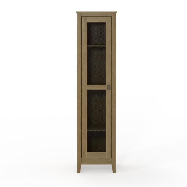System Build Luca 18 in. Golden Oak Wide Storage Cabinet with Mesh Door