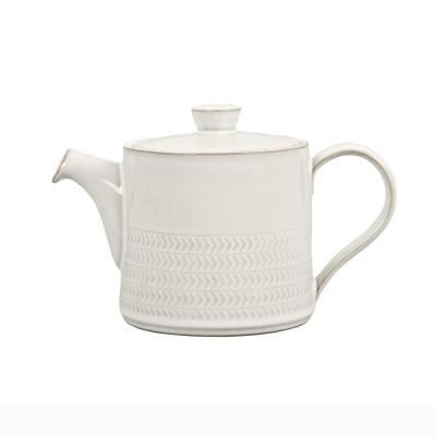 Natural Canvas Textured Teapot