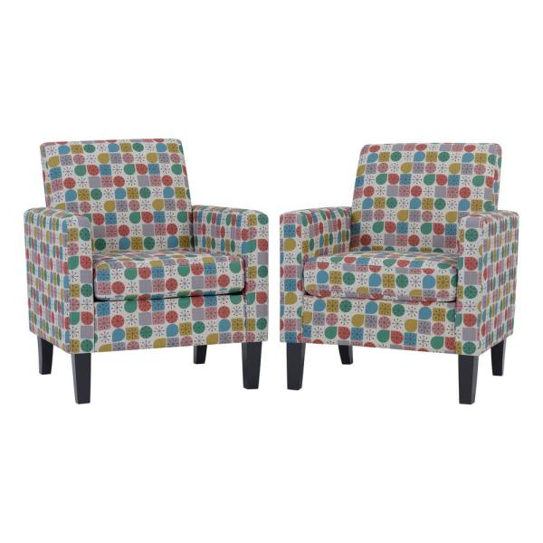 Pink Starlight Modern Print Joleen Track Arm Upholstered Chairs (Set of 2)