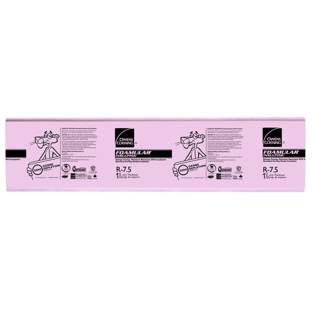 Owens Corning Foamular 1 1 2 In X 2 Ft X 8 Ft R 7 5 Insulpink Furring Lap Rigid Foam Board Insulation Sheathing 43wd The Home Depot