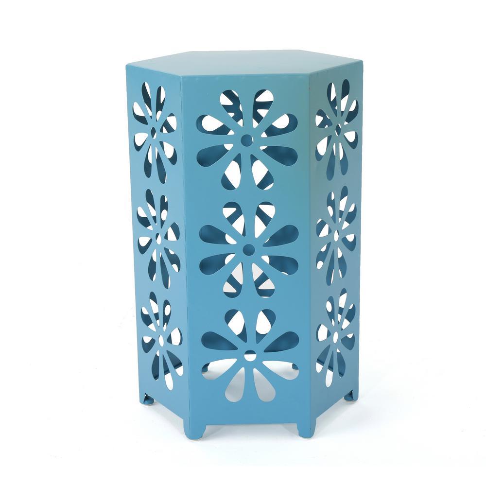 Dandelion Matte Blue Hexagonal Metal Outdoor Side Table