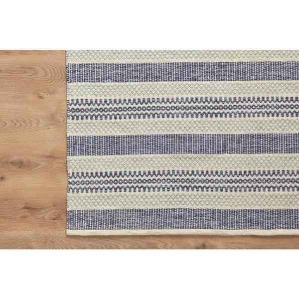 Stylewell Oakdale Blue Beige 5 Ft X 7 Ft Wool Cotton Striped Area Rug Ept0010736 The Home Depot