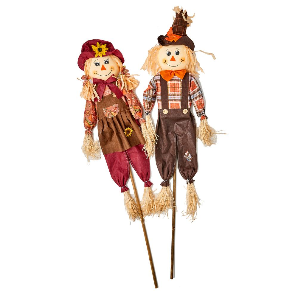 Worth Imports 48 in. Scarecrow on Stake (Set of 2)