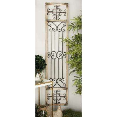 16 in. x 72 in. Rustic Distressed Grey Iron Scrollwork Wall Decor