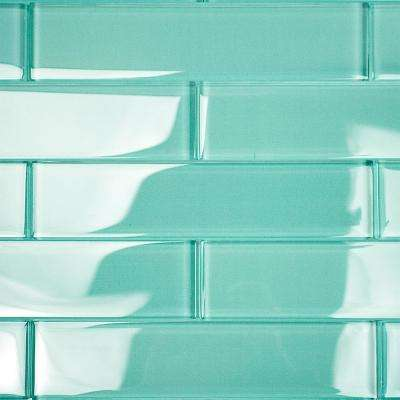 Contempo Green 2 in. x 8 in. x 8mm Polished Glass Floor and Wall Tile (1 sq. ft.)