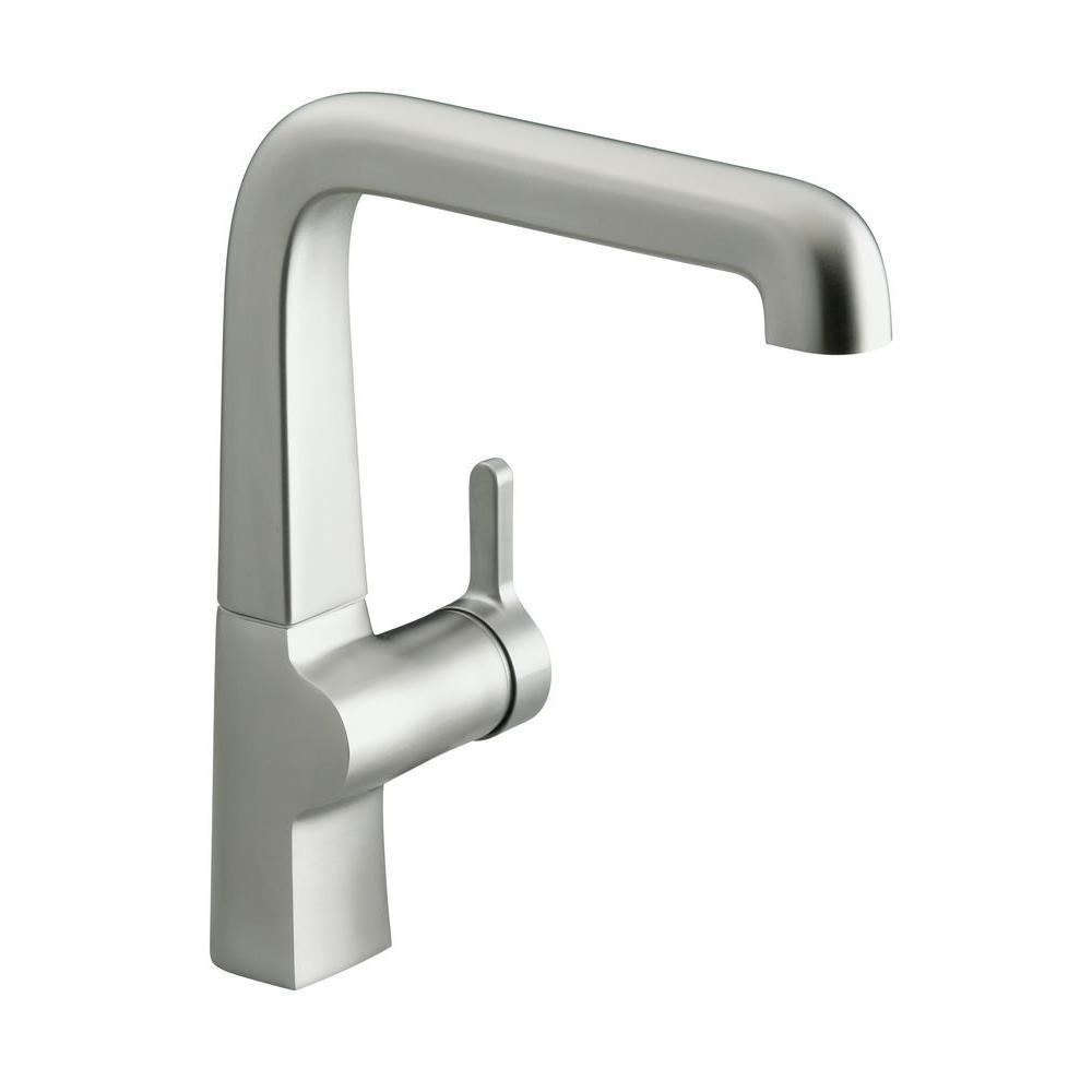 kohler evoke mid arc single handle standard kitchen faucet in vibrant stainless steel k 6333 vs