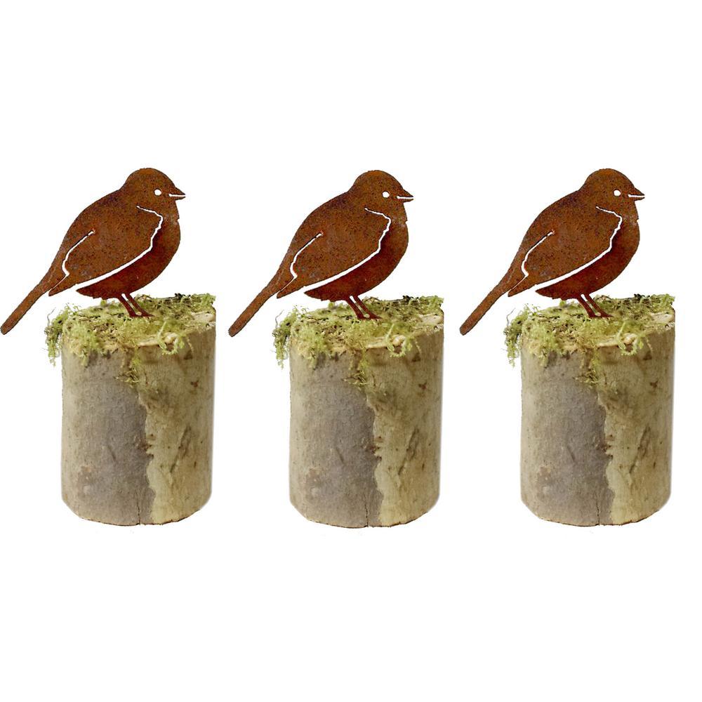 4 in. Tall Metal Rustic Look Artwork Field Sparrow Silhouettes (Set of 3)