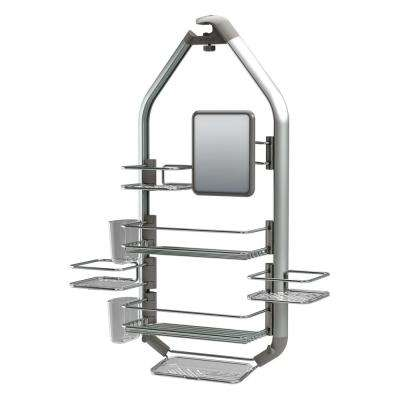 Adjustable Over-The-Shower Head/Door Caddy with Mirror in Aluminum and Stainless Steel
