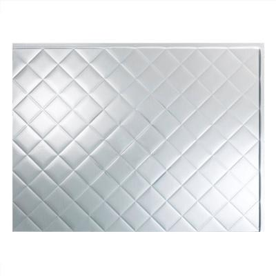Quilted 18.25 in. x 24.25 in. Vinyl Backsplash Panel in Brushed Aluminum (5-Pack)
