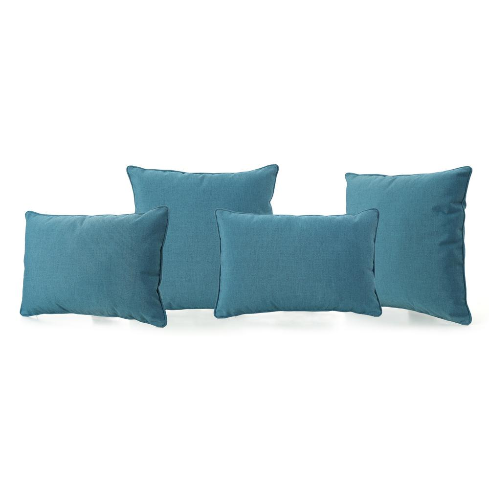 Noble House Benjamin Teal Lumbar and Square Outdoor Throw Pillow (4-Pack)