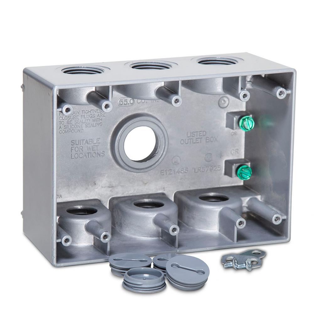 BELL 3 Gang Weatherproof Deep Box with Seven 3/4 in. Outlets
