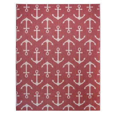 Paseo Maritime Anchors Red/Grain 8 ft. x 10 ft. Indoor/Outdoor Area Rug