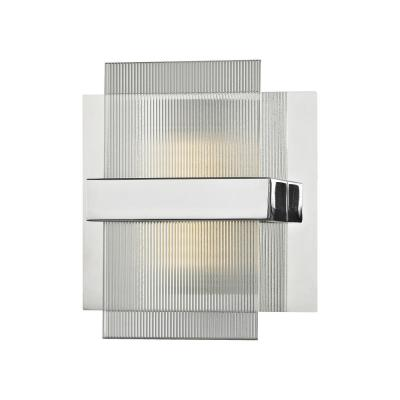 Desiree 8-Watt Polished Chrome with Clear Lined Glass Integrated LED Bath Light