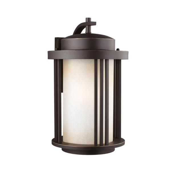 Crowell 1-Light Antique Bronze Outdoor 19.5 in. Wall Lantern Sconce with LED Bulb