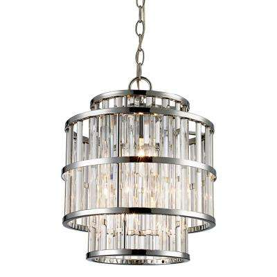 3-Light Polished Chrome Chandelier with Clear Shade
