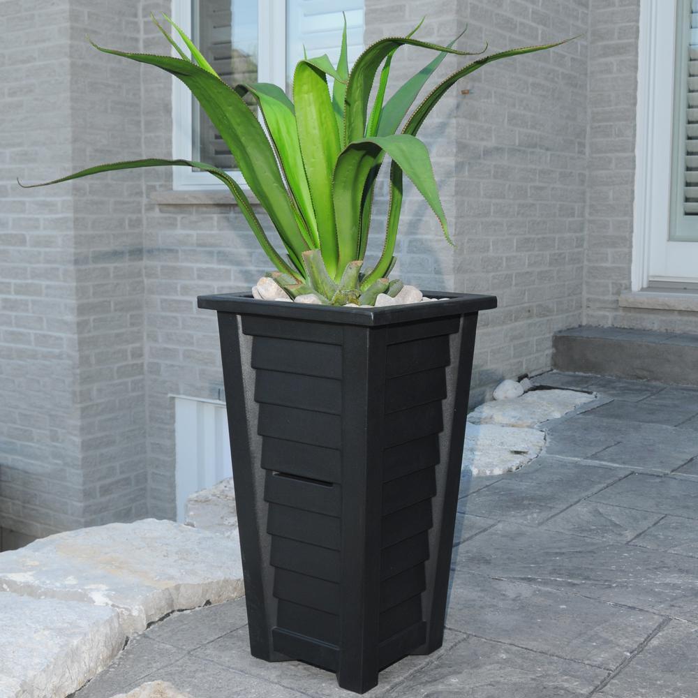 Lakeland 28 in. Black Polyethylene Patio Planter