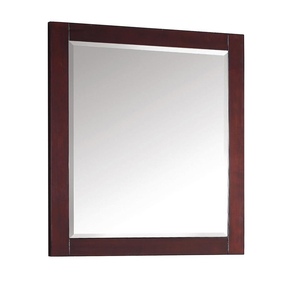 Modero 28 in. W x 32 in. H Framed Rectangular Beveled Edge Bathroom Vanity Mirror in Espresso