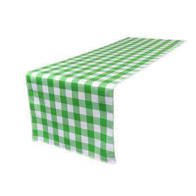 14 in. x 108 in. White and Lime Polyester Gingham Checkered Table Runner