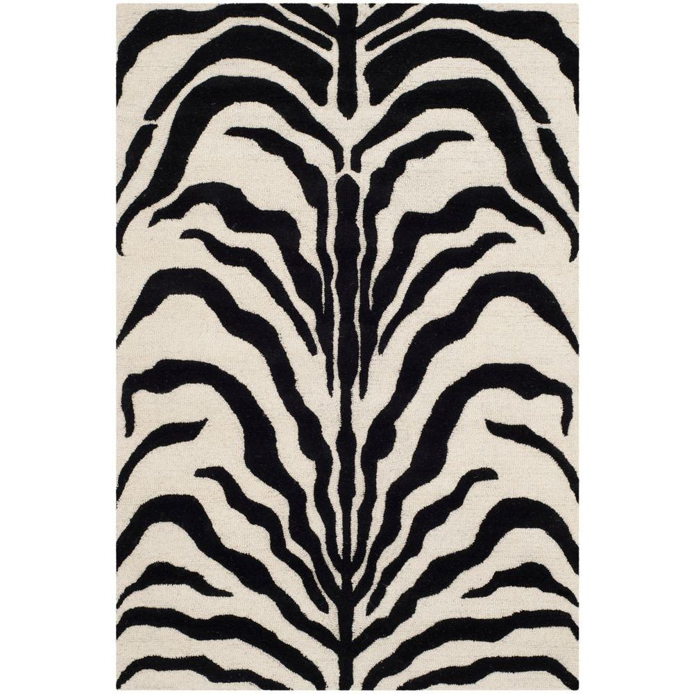 Cambridge Ivory/Black 4 ft. x 6 ft. Area Rug