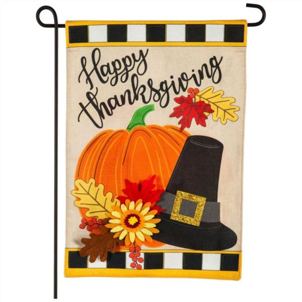 Evergreen 12 5 In X 18 In Happy Thanksgiving Garden Burlap Flag 14b9404 The Home Depot