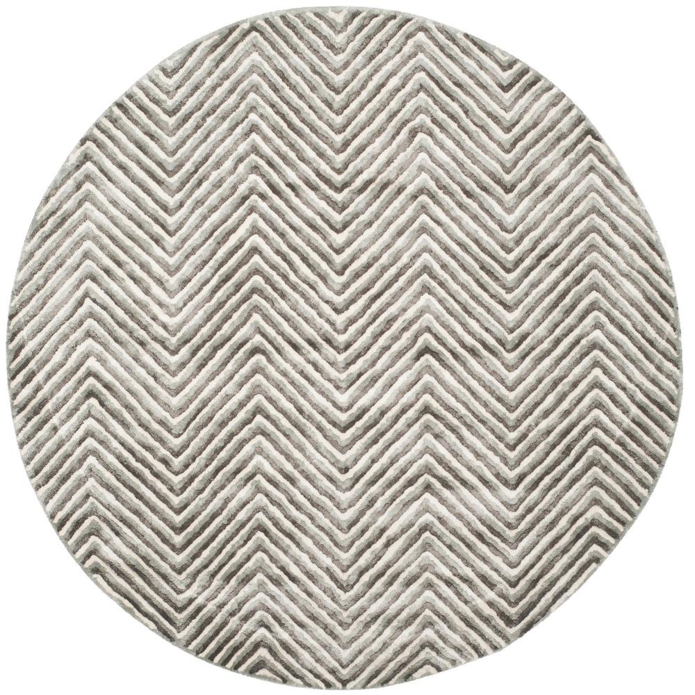 Soho Ivory/Gray 6 ft. x 6 ft. Round Area Rug