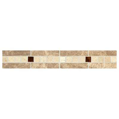 Stone Decorative Accents Copper Mystery 1-7/8 in. x 12 in. Marble and Glass Accent Wall Tile