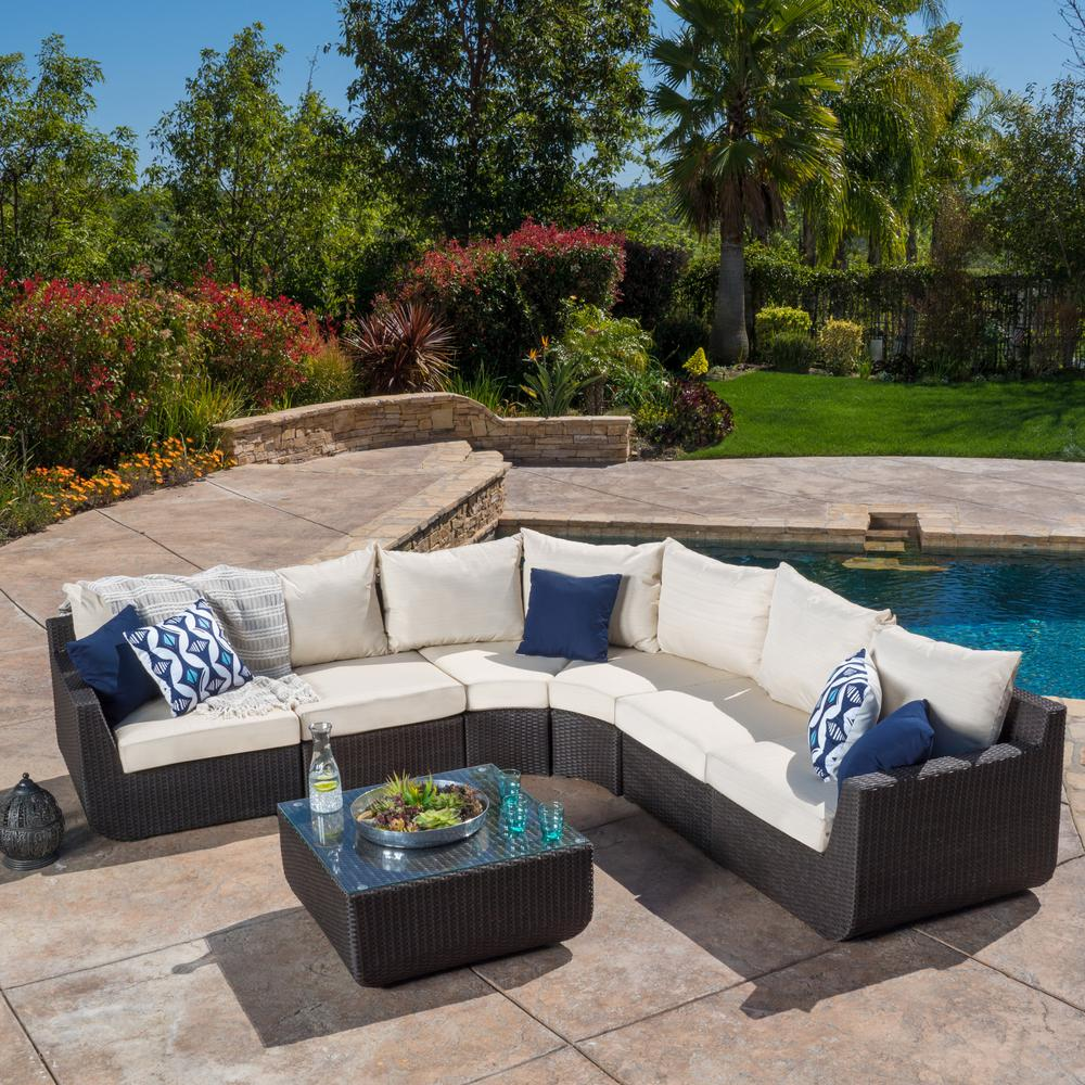 Awesome Noble House Carmel Brown 7 Piece Wicker Outdoor Sectional Set With Beige Cushions Theyellowbook Wood Chair Design Ideas Theyellowbookinfo