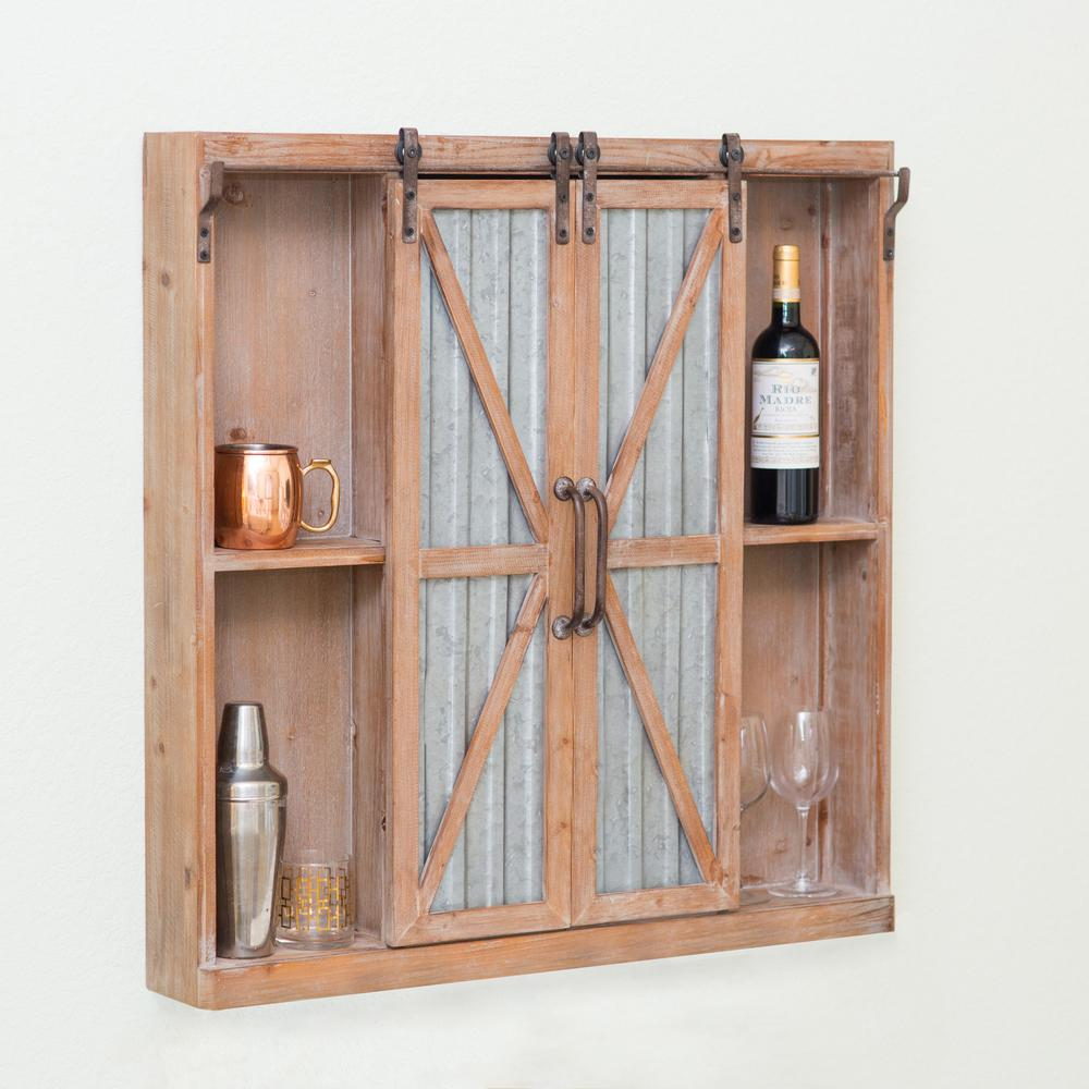 Firstime Westerly Weathered Brown Barn Door Cabinet