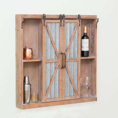 Westerly Weathered Brown Barn Door Cabinet