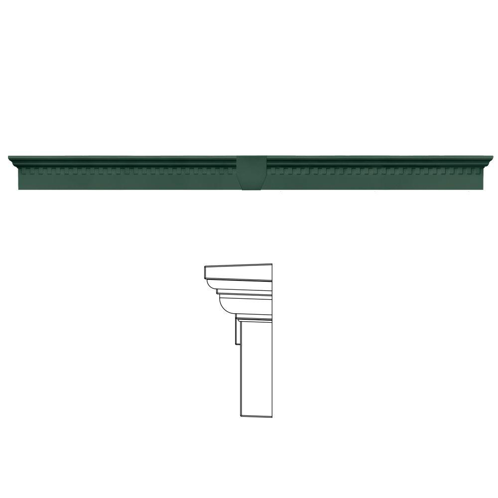 Builders Edge 6 in. x 73 5/8 in. Classic Dentil Window Header with Keystone in 028 Forest Green