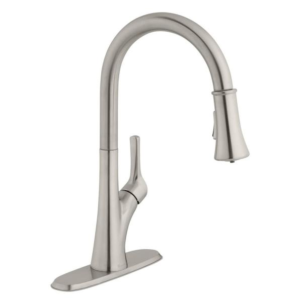 Single-Handle Pull-Down Sprayer Kitchen Faucet with LED Light in Stainless Steel