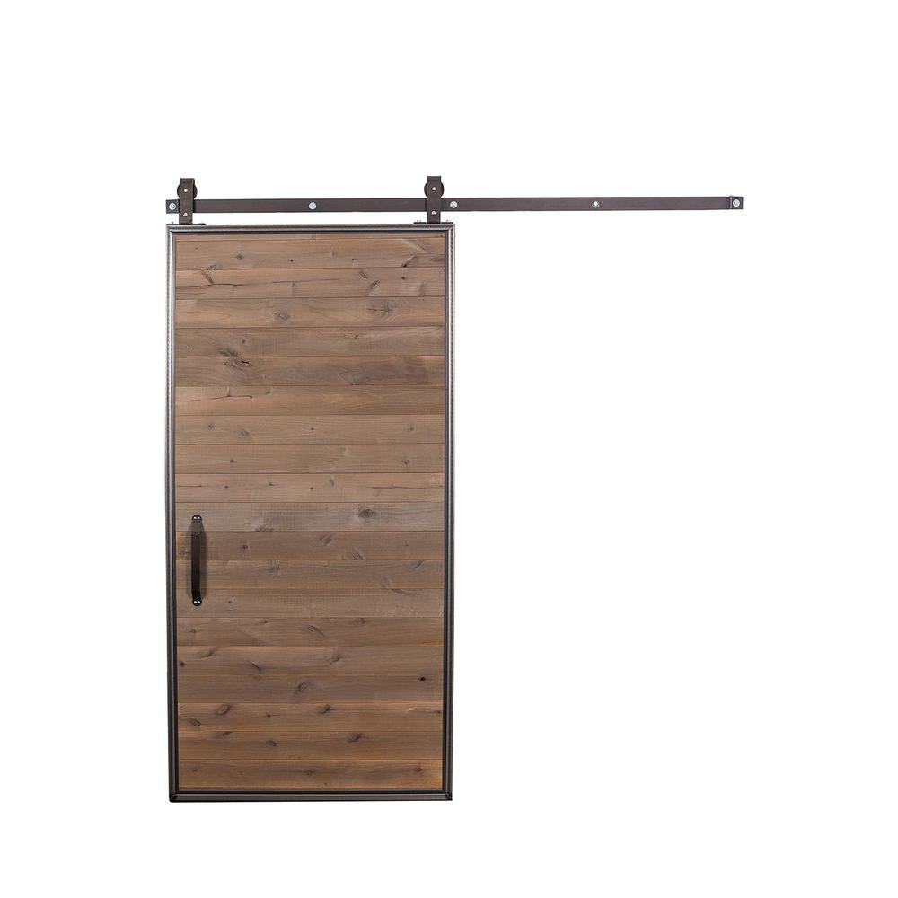 Rustica hardware 42 in x 84 in mountain modern wood barn door mountain modern wood barn door with sliding door hardware kit hdtinb1mmrs the home depot planetlyrics