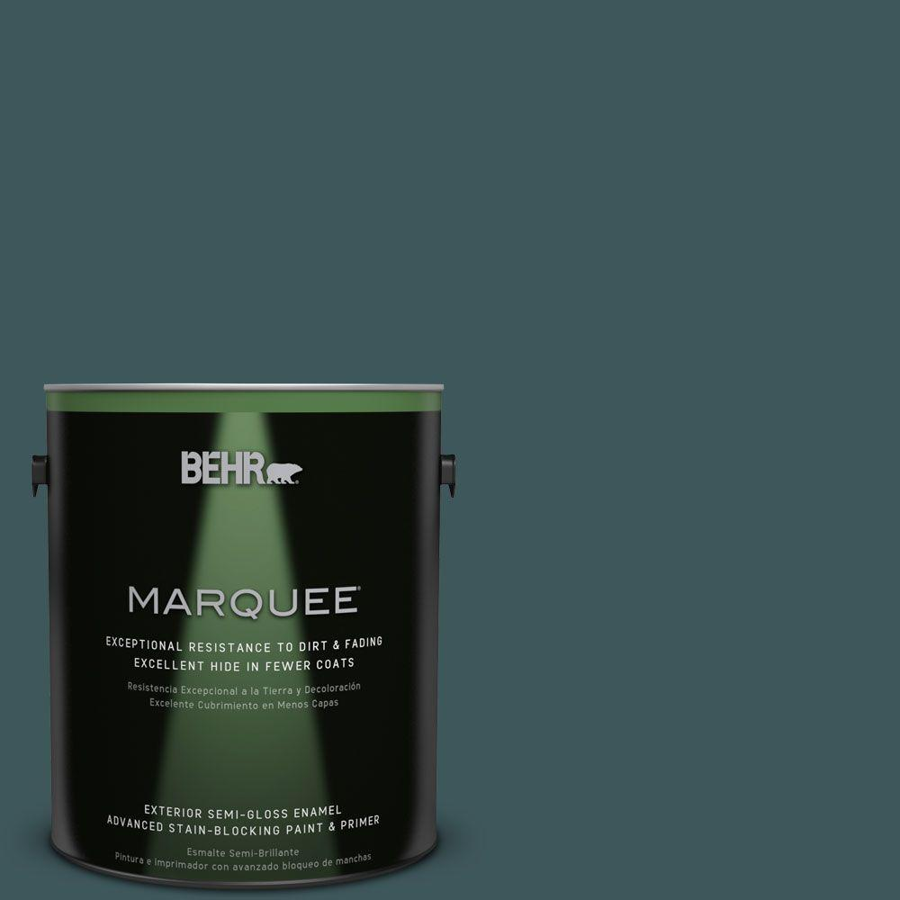 BEHR MARQUEE 1-gal. #PPU12-1 Abysse Semi-Gloss Enamel Exterior Paint
