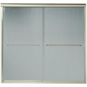 Sterling Finesse 59-5/8 inch x 55-3/4 inch Semi-Frameless Sliding Tub Door in Nickel with Handle by STERLING