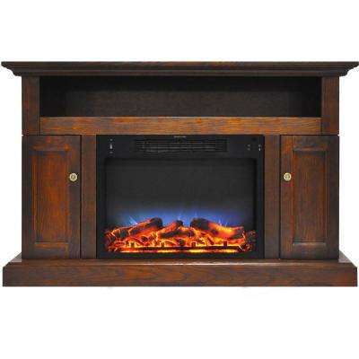Sorrento Electric Fireplace with Multi-Color LED insert and 47 in. Entertainment Stand in Walnut