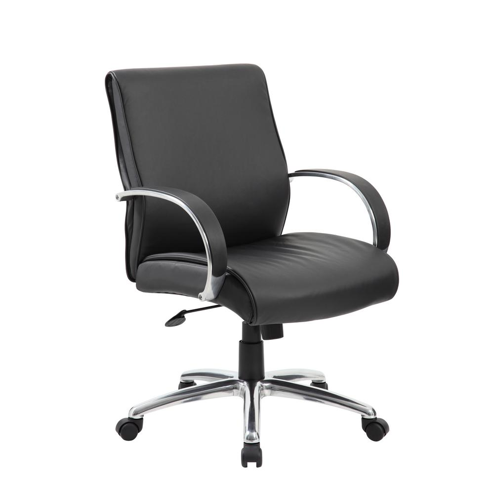 Black Aluminum Upholstery Mid-Back Executive Chair