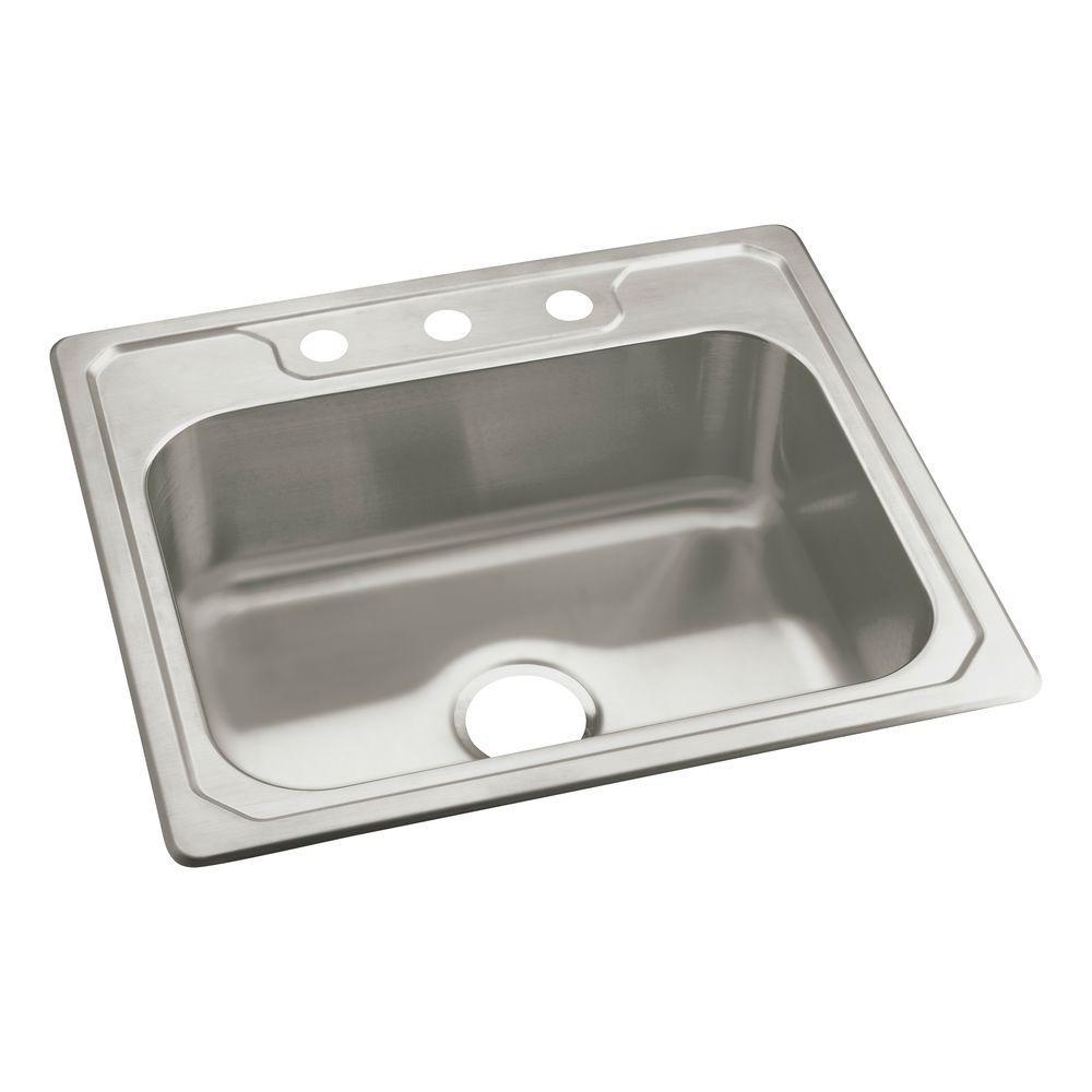 sterling middleton drop in stainless steel 25 in 3 hole single bowl kitchen sink 14711 3 na. Black Bedroom Furniture Sets. Home Design Ideas