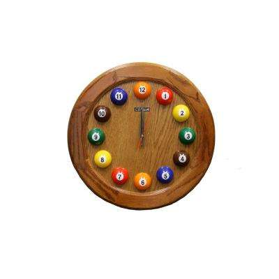17 in. x 17 in. Round and Wood Pool Wall Clock in Oak