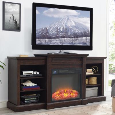 Home Source Mae Espresso Electric Fireplace TV Stand with Open Shelves