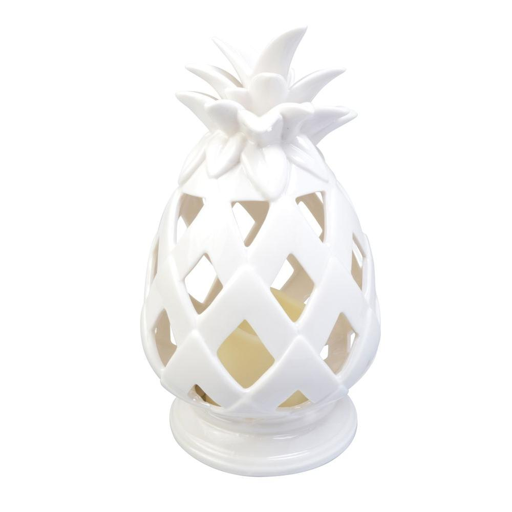 10.6 in. Battery Powered Integrated LED White Tabletop Pineapple Outdoor Patio