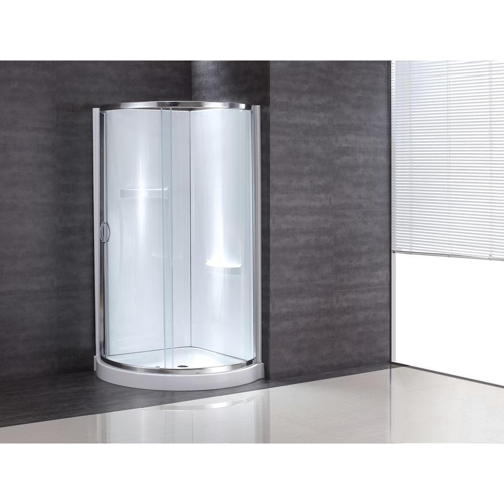 Ove Decors 34 In X 34 In X 76 In Shower Kit With Reversible Sliding Door And Shower Base