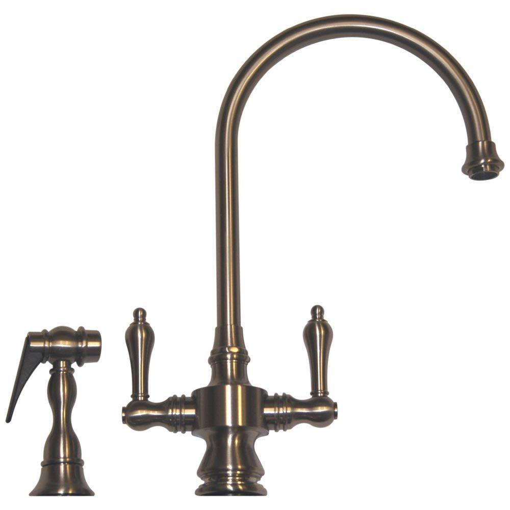 Whitehaus Collection Vintage III 2 Handle Standard Kitchen Faucet With Side  Sprayer In Brushed Nickel