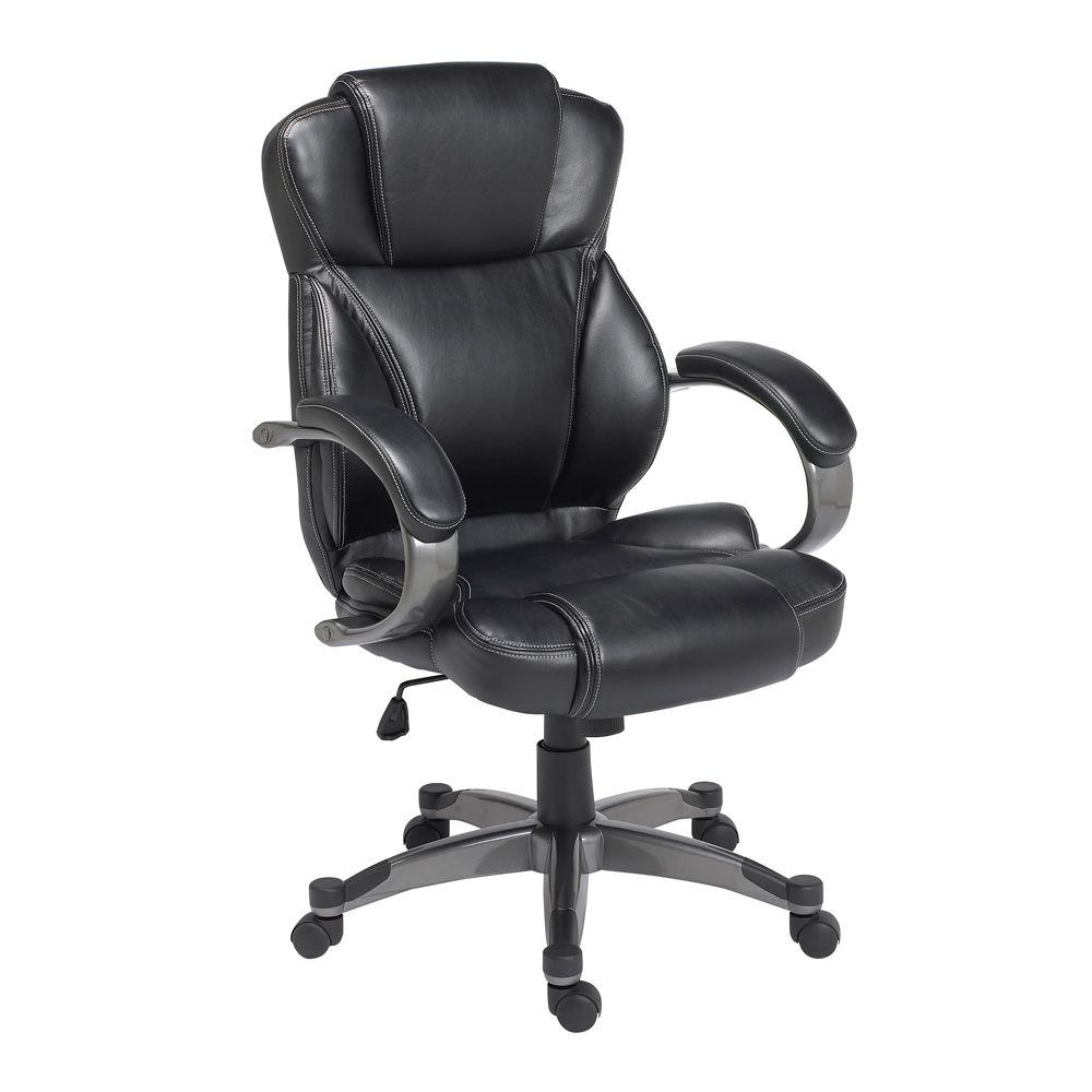 zline designs black leather executive office chair