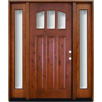 60 in. x 80 in. Craftsman 3 Lite Arch Stained Knotty Alder Wood Prehung Front Door with Sidelites