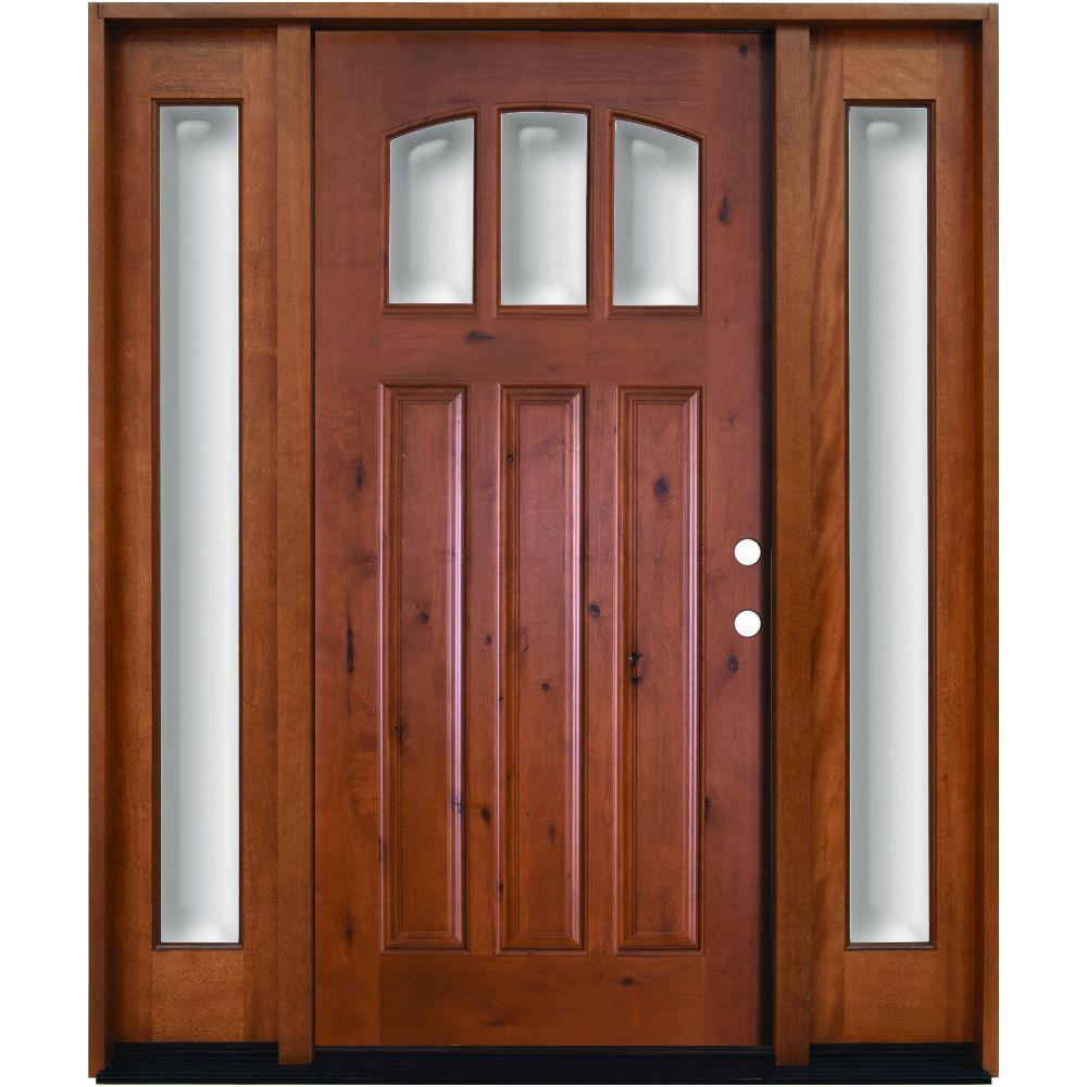 Steves & Sons 68 in. x 80 in. Craftsman 3 Lite Arch Stained Knotty Alder Wood Prehung Front Door with Sidelites