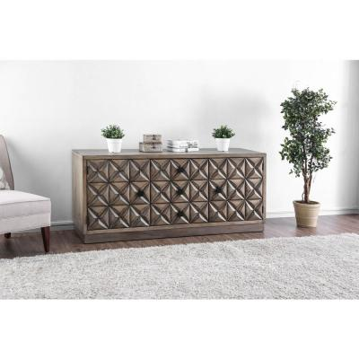 Markos II Transitional Style TV Stand in Weathered Light Oak Finish