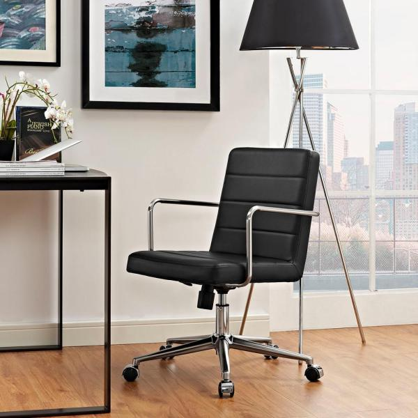 MODWAY Cavalier Mid Back Office Chair in Black EEI-2125-BLK