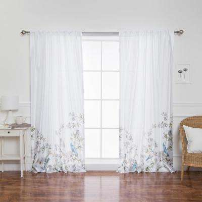 Faux Silk Bluebird Patterned Rod Pocket White Curtain Panel - 84 in. L x 52 in. W (2-Pack)